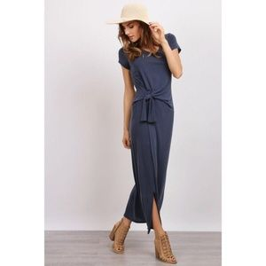 Navy Blue Side Knot Modal Maxi Dress